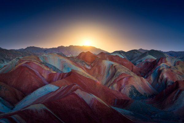 Zhangye Danxia coucher de soleil